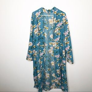 NWT Charlotte Russe Teal Floral Duster Kimono